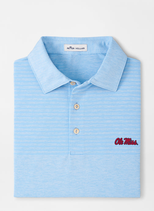 Peter Millar Ole Miss Engineered Stripe Performance Polo: Cottage Blue