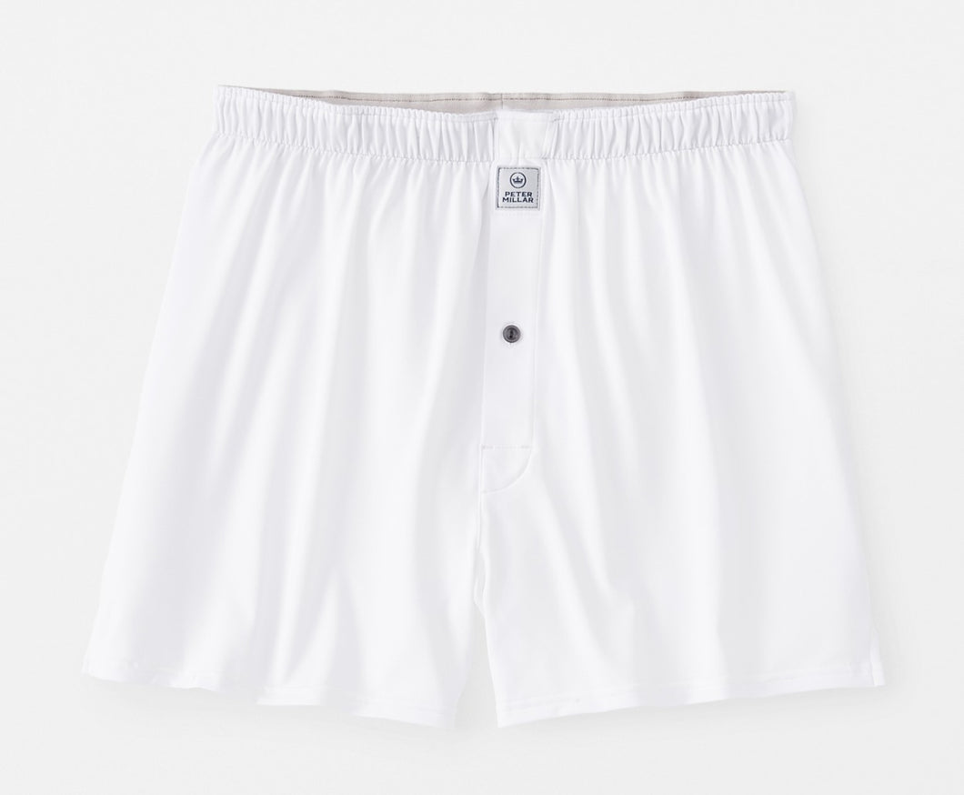 Peter Millar Bold Stretch Jersey Boxer: White
