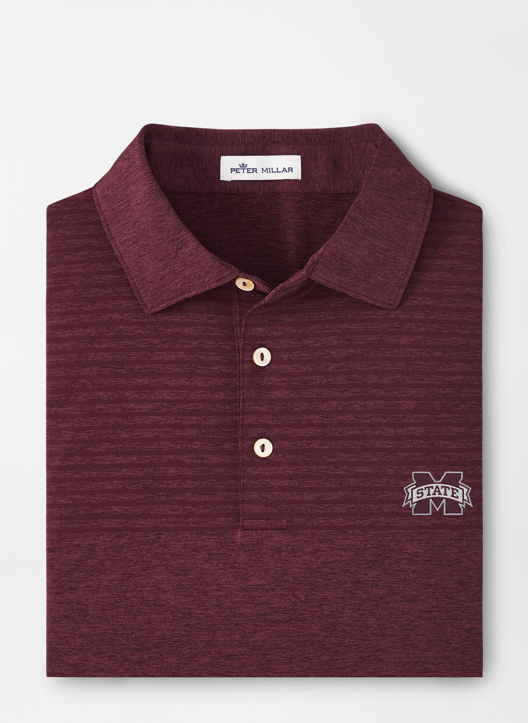 Peter Millar MSU Mississippi State Engineered Stripe Performance Polo: Maroon