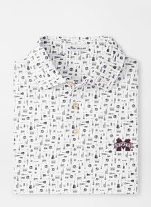 Peter Millar MSU Mississippi State Landmark Tailgate Performance Polo: White