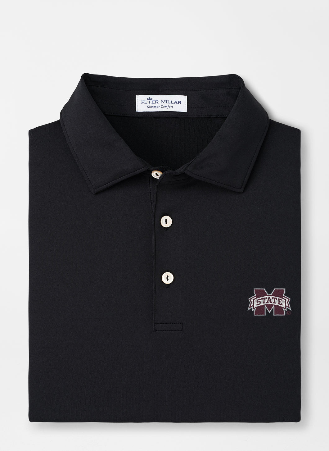 Peter Millar MSU Mississippi State Solid Performance Polo: Black