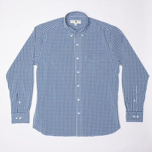 Duck Head Walton Performance Gingham Shirt: Dark Blue