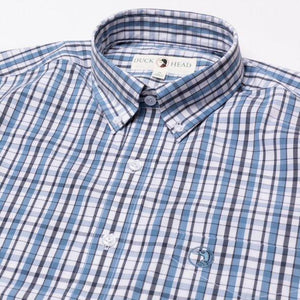 Duck Head Caden Performance Plaid Sport Shirt: Harbor Blue