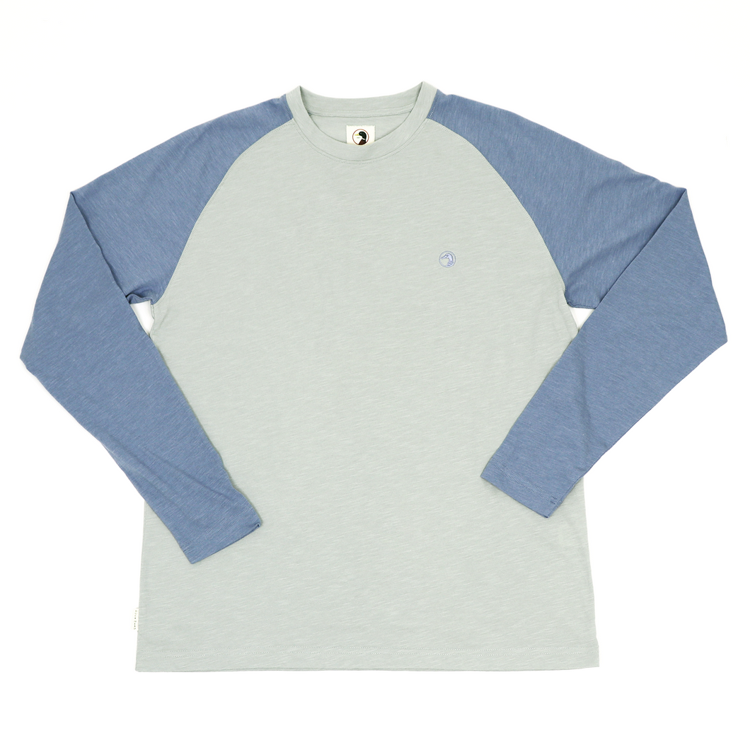 Duck Head Chaney Raglan Crewneck: Slate Blue
