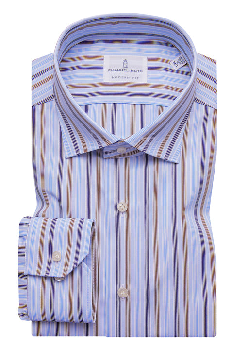 Emanuel Berg Sport Shirt: Blue & Brown Stripe