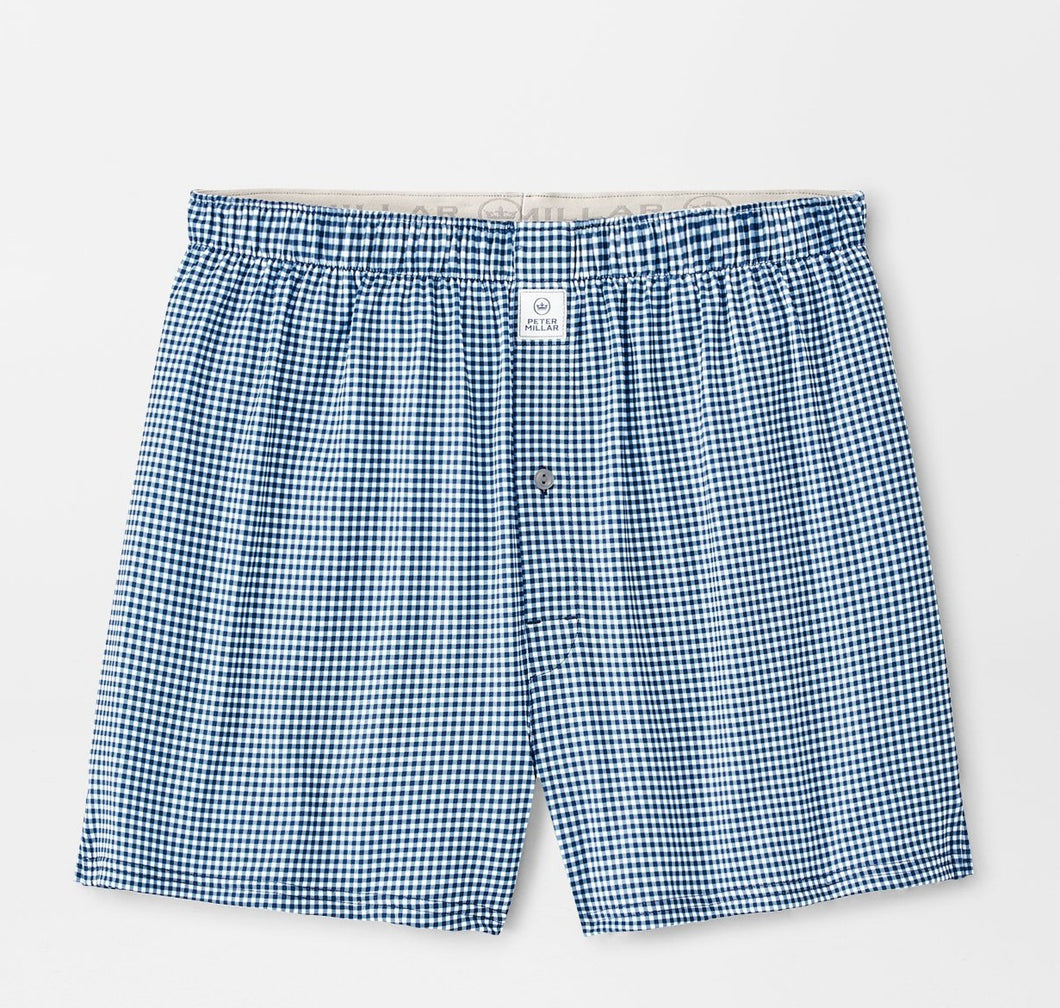Peter Millar Nebraska Printed Gingham Check Stretch Jersey Boxer: Navy