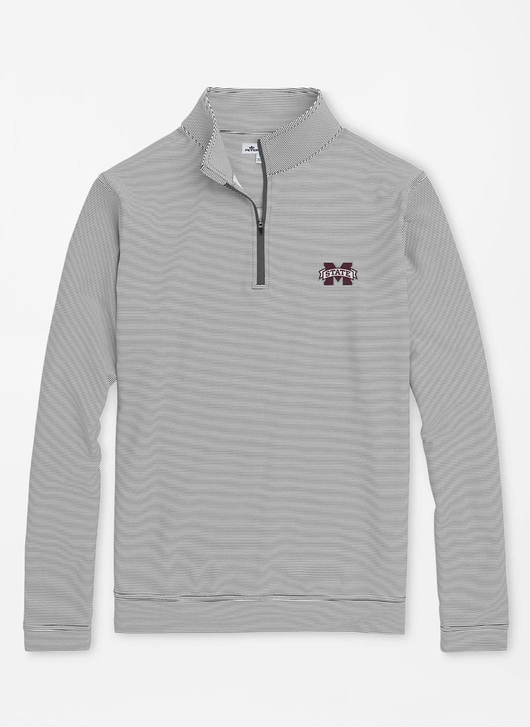 Peter Millar Mississippi State Perth Mini-Stripe Performance 1/4 Zip: Iron & White