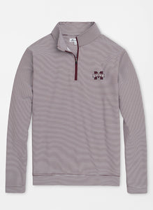 Peter Millar Mississippi State Perth Mini-Stripe Performance 1/4 Zip: Maroon & White