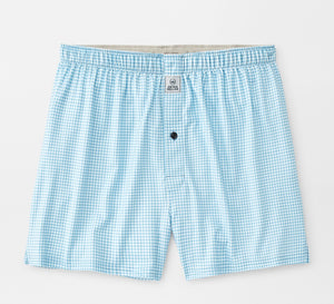 Peter Millar Nebraska Printed Gingham Check Stretch Jersey Boxer: Cottage Blue