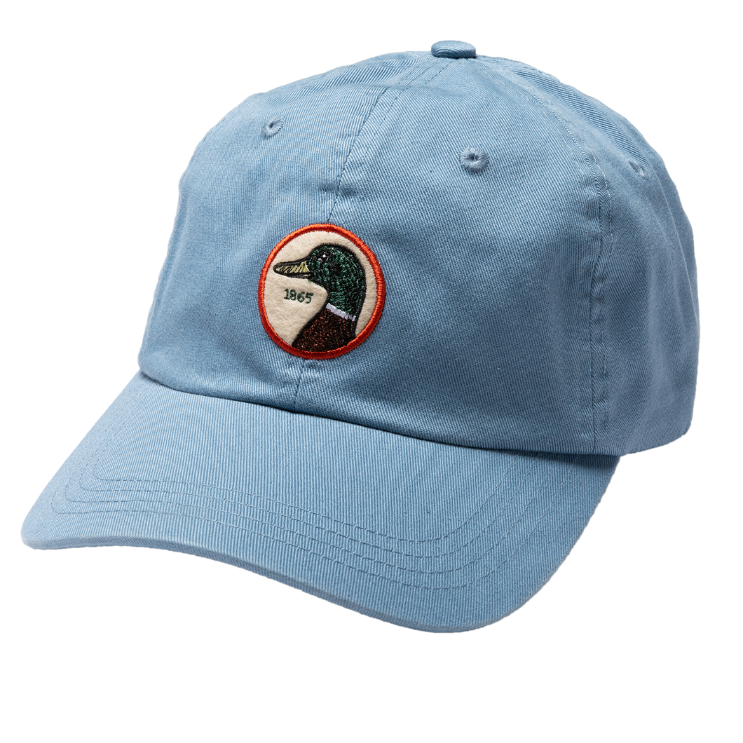 Duck Head Circle Patch Twill Hat: Steel Blue