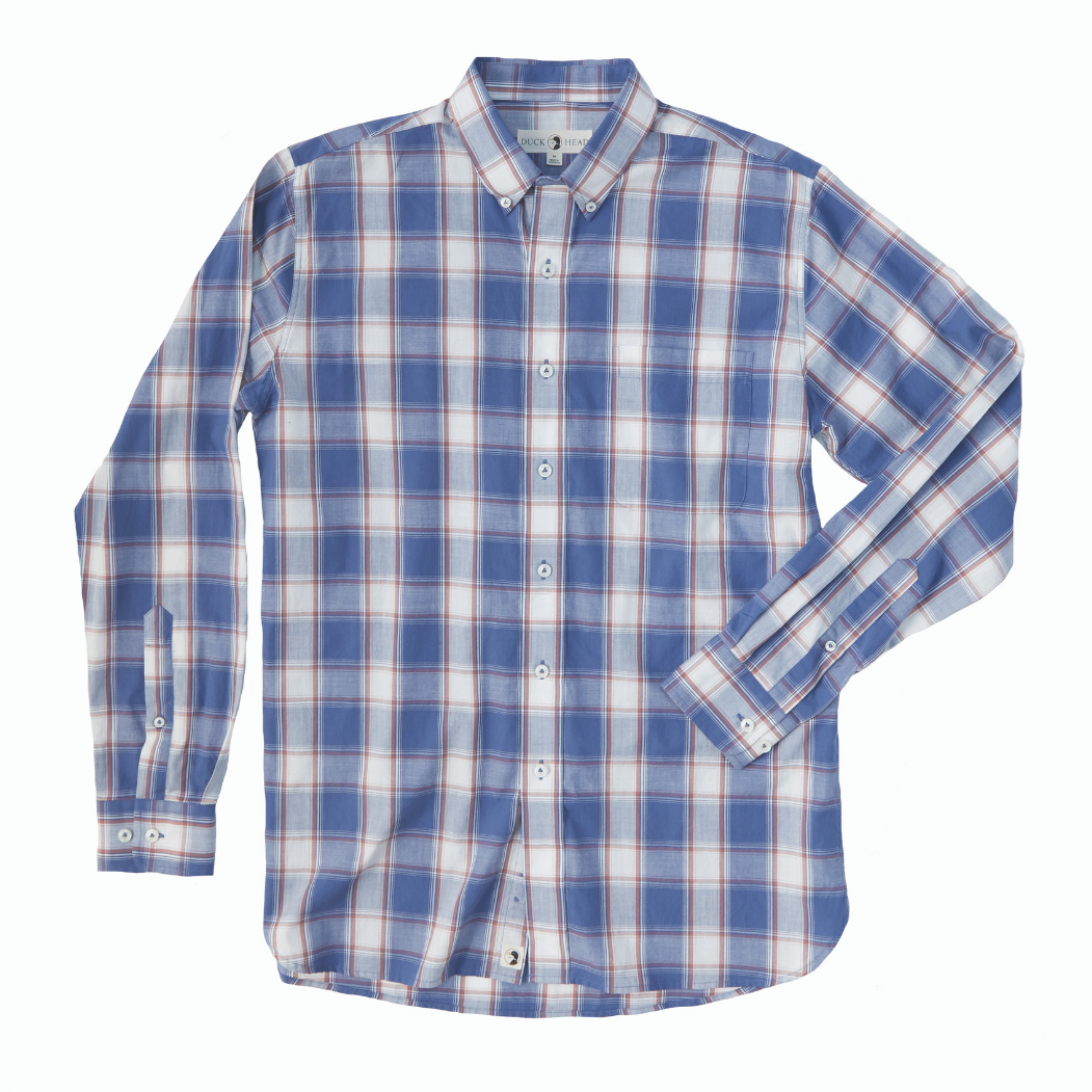 Duck Head Piedmont Plaid Shirt: Atlantic Blue