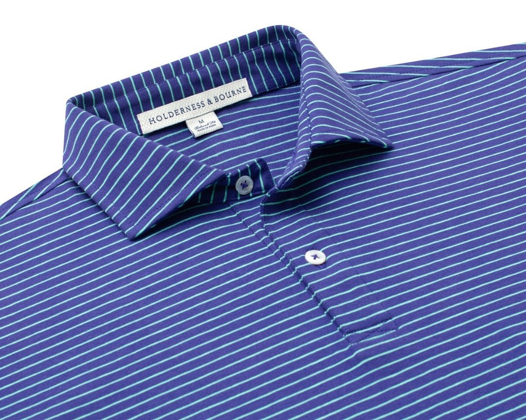 Holderness & Bourne Egan knit shirt: Navy/Mint