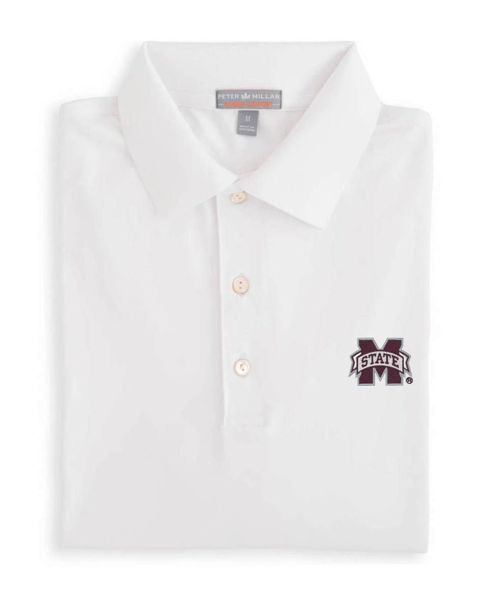 Peter Millar Mississippi State Solid Performance Polo: White