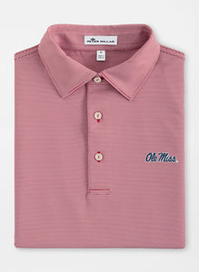 Peter Millar Ole Miss Jubilee Stripe Performance Polo: Red & White