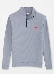 Peter Millar Ole Miss Perth Mini-Stripe Stretch Loop Terry Quarter-Zip: Navy & White