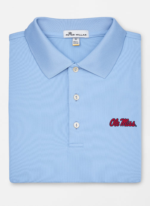 Peter Millar Ole Miss Solid Performance Polo: Cottage Blue