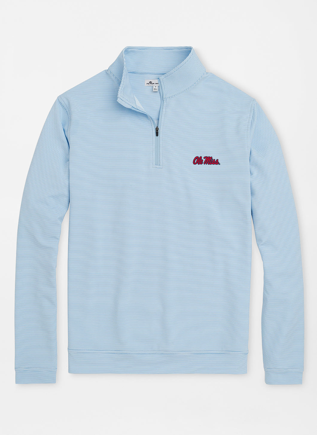 Peter Millar Ole Miss Perth Mini-Stripe Stretch Loop Terry Quarter-Zip: Cottage Blue & White