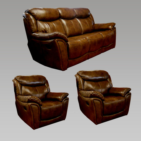 Tulip 3 Seater and 2 Chair Recliner Leather Sofa Set