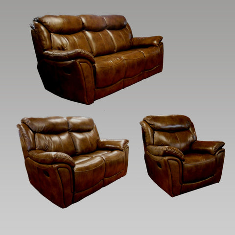 Tulip 3 Seater and 2 Seater Sofa and Chair Recliner Leather Sofa Set