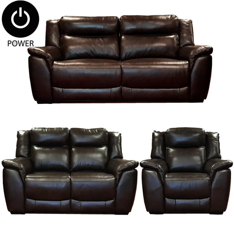 Nuovo 3 Seater and 2 Seater and Chair Power Recliner set