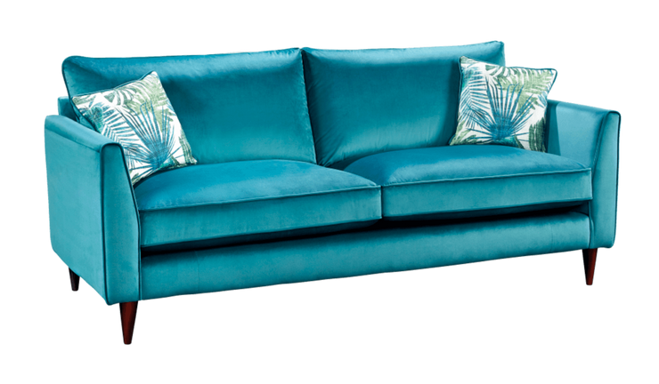 Velvet 3 Seater High Back Sofa