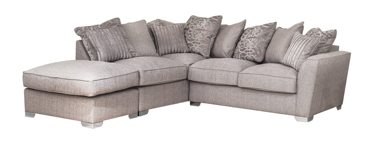 Fantasia 2 by 1 Seater with Footstool Left Hand Facing Pillow Back Sofa Bed Corner Group