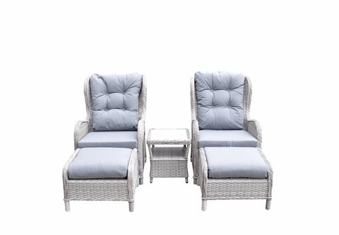 Five Piece Reclining lounge set in Fine Creamy Meghan Grey wicker with Pale Grey Cushion