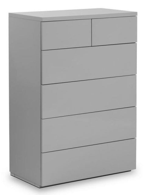 Monaco 4+2 Drawer Chest Of Drawers - Grey High Gloss