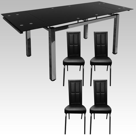 Tiptop luxury black extending table with 4 chairs