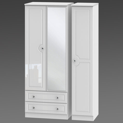 Crystal Tall Triple 2 Drawer Mirror Robe