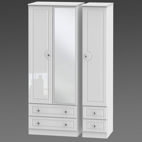 Crystal Tall Triple 2 Drawer Mirror + Drawer Robe