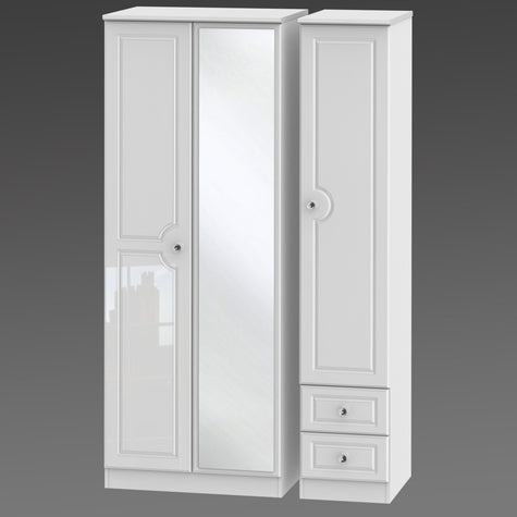 Crystal Tall Triple Mirror + Drawer Robe