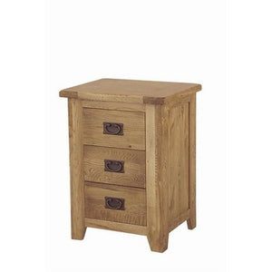 Lincoln Oak 3 Drawer Bedside Chest