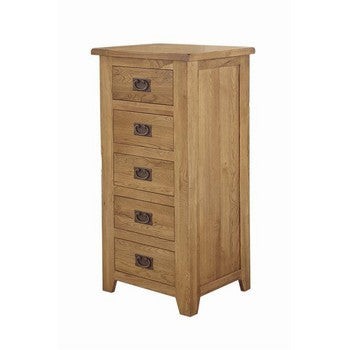 Lincoln Oak 5 Drawer Tall Chest