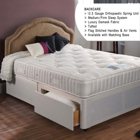 Double Backcare Supreme 4 Drawer Divan Bed (Open coil, Firm)