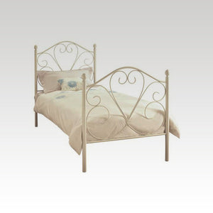 Isabelle Single Metal Bed Frame in White Gloss