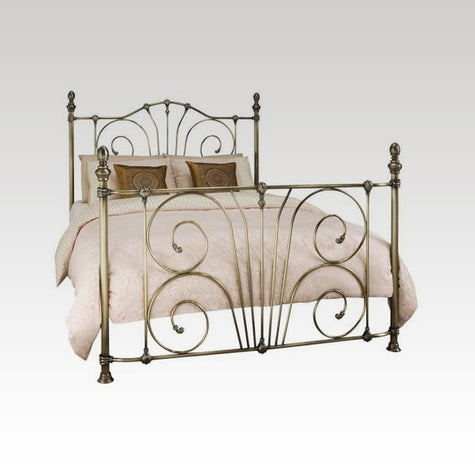 Jessica Small Double Metal Bed Frame in Antique Brass