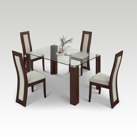 Mistral rectangular glass top table + 4 chair set
