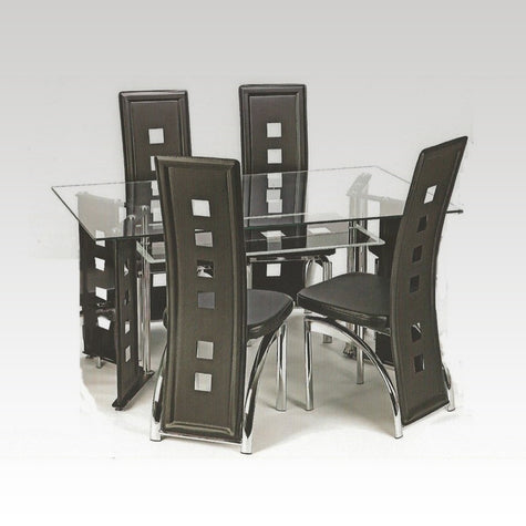 Glass Table and 4 Chair Set
