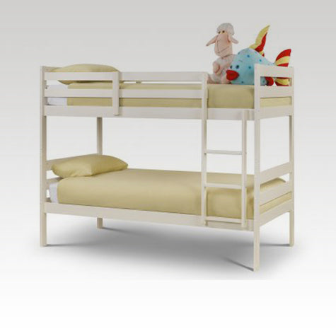 Modena Bunk Bed in Stone White (mattresses extra)