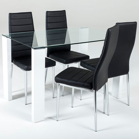 Savona Medium Set Black or White (4 Torino Chairs)