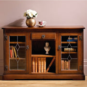 Old Charm Low Bookcase with Leaded Glass Doors