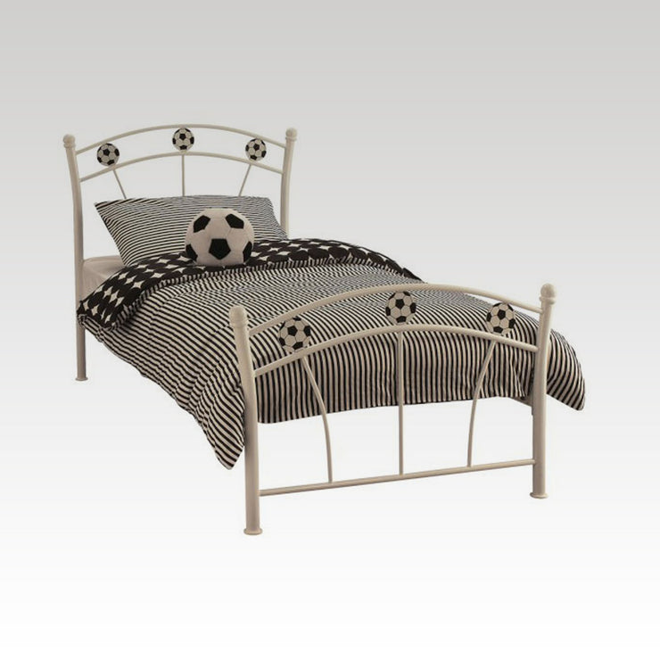 Soccer Small Single Metal Bed Frame in White