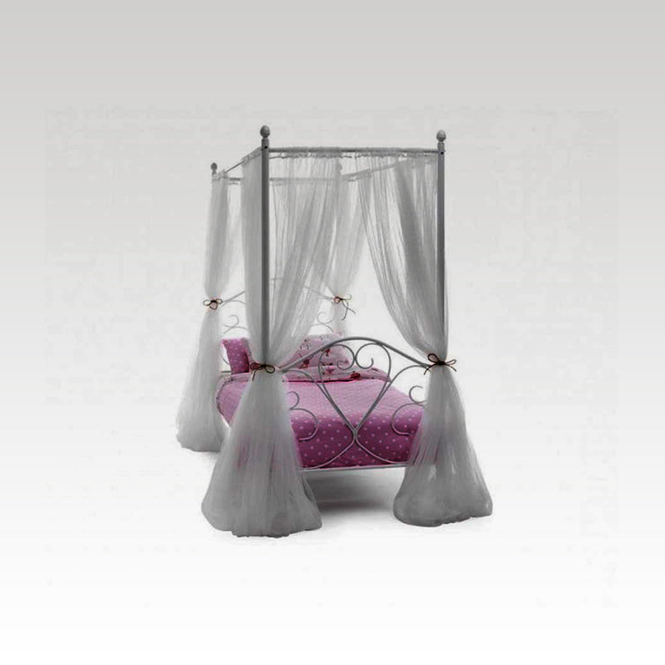 Isabelle Four Poster Metal Bed Frame in White Gloss