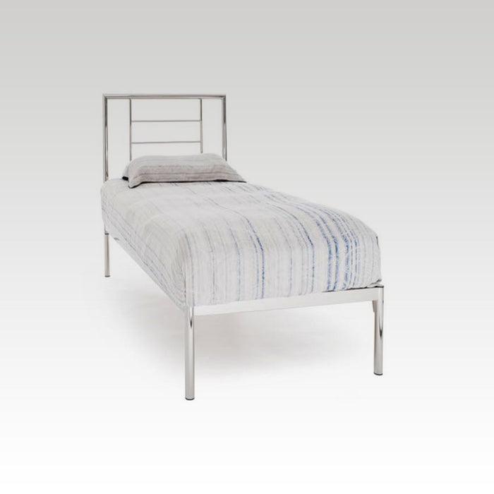 Zeus Single Metal Bed Frame in Nickel