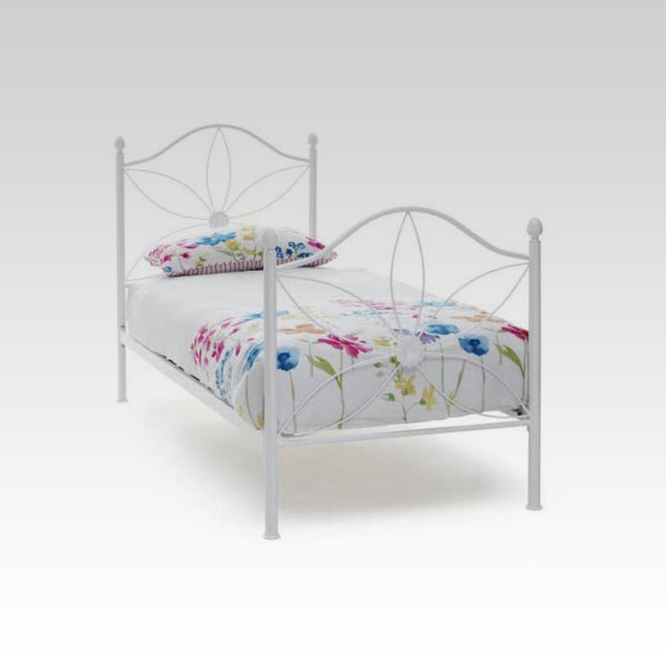 Daisy Single Metal Bed Frame in White Gloss