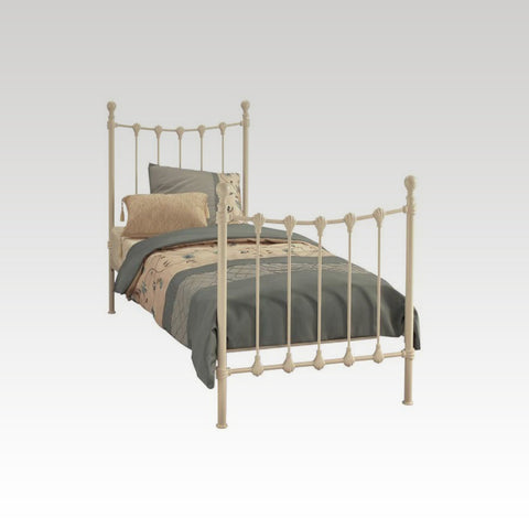 Marseilles Single Metal Bed Frame in Ivory Gloss