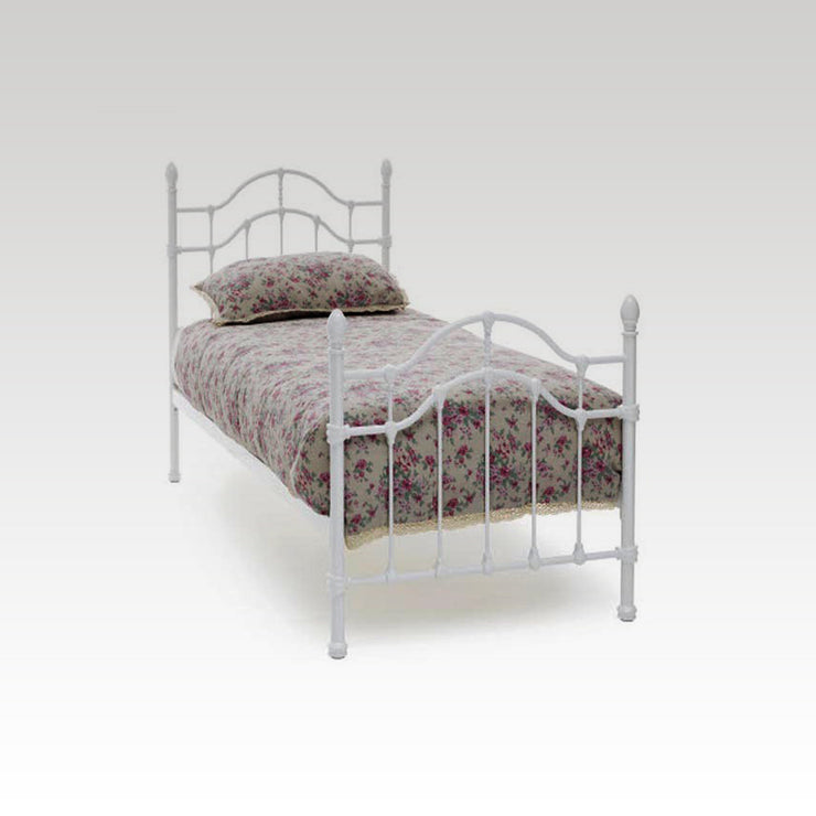 Paris Single Metal Bed Frame in White Gloss
