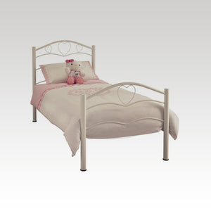Yasmin Single Metal Bed Frame in White Gloss