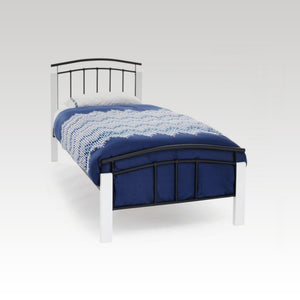 Tetras White and Black Single Metal Bed Frame